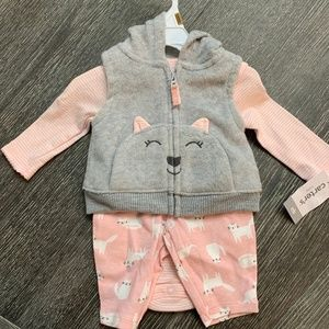 Carter's 3pc Baby Girls Infant Kitty Cat NB NWT